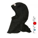 Manymonths Woll-Elefantenmütze (ElephantHood) Foggy Black   S/M